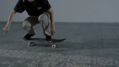 Skateboard Trick FS Pop Shove-It Position des Pieds