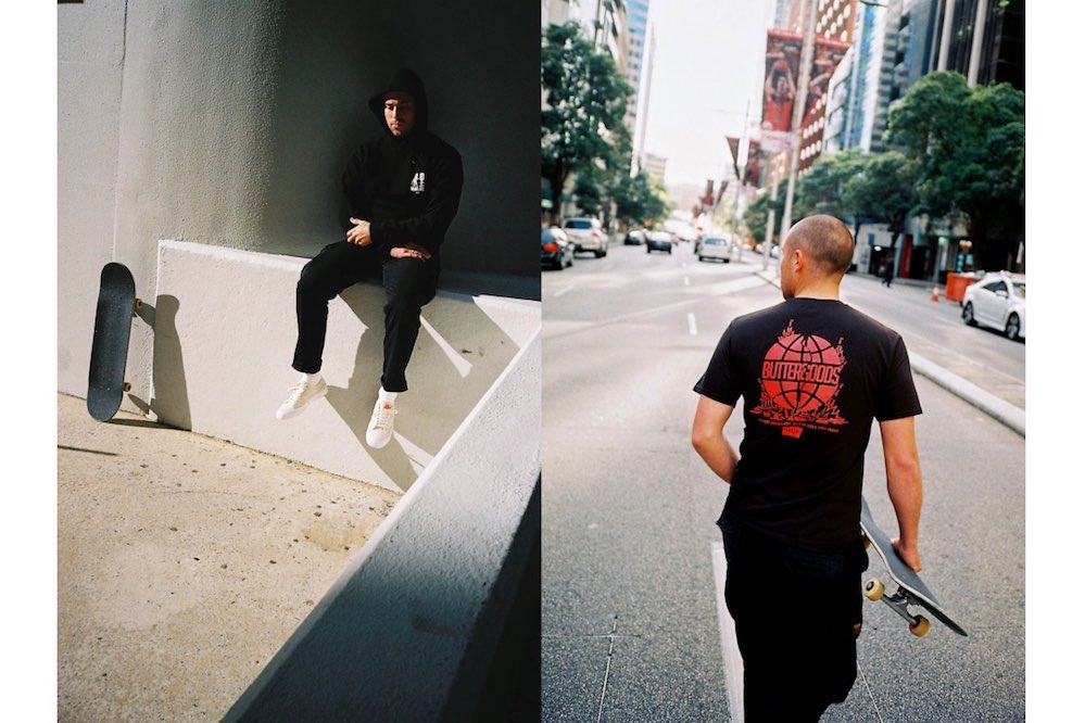 HUF x Butter Goods Devil Hoodie & Feels Like Home T-Shirt Black